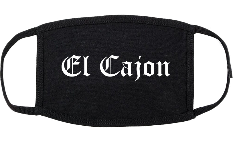 El Cajon California CA Old English Cotton Face Mask Black