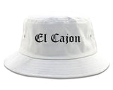 El Cajon California CA Old English Mens Bucket Hat White