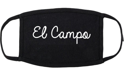 El Campo Texas TX Script Cotton Face Mask Black