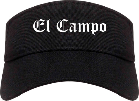 El Campo Texas TX Old English Mens Visor Cap Hat Black
