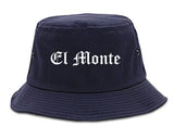El Monte California CA Old English Mens Bucket Hat Navy Blue