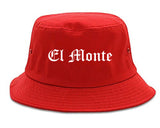 El Monte California CA Old English Mens Bucket Hat Red