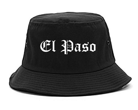 El Paso Texas TX Old English Mens Bucket Hat Black