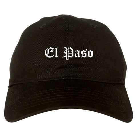 El Paso Texas TX Old English Mens Dad Hat Baseball Cap Black