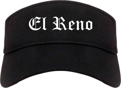 El Reno Oklahoma OK Old English Mens Visor Cap Hat Black