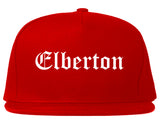 Elberton Georgia GA Old English Mens Snapback Hat Red