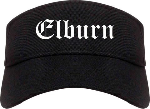 Elburn Illinois IL Old English Mens Visor Cap Hat Black