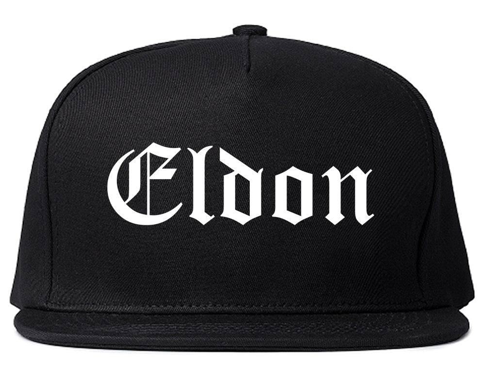 Eldon Missouri MO Old English Mens Snapback Hat Black