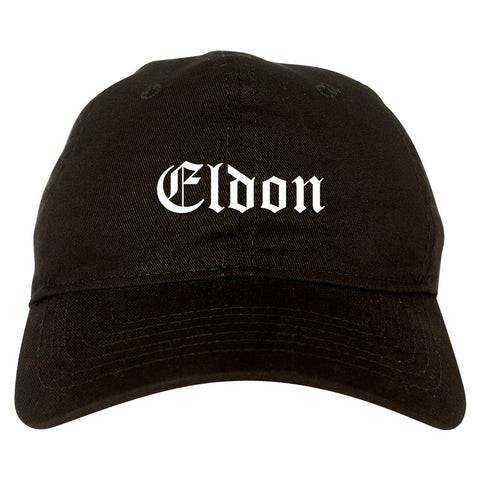 Eldon Missouri MO Old English Mens Dad Hat Baseball Cap Black