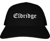 Eldridge Iowa IA Old English Mens Trucker Hat Cap Black