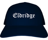 Eldridge Iowa IA Old English Mens Trucker Hat Cap Navy Blue