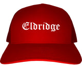 Eldridge Iowa IA Old English Mens Trucker Hat Cap Red