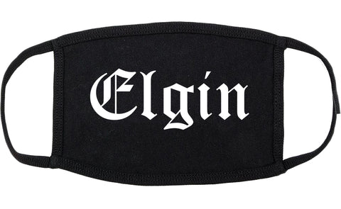Elgin Illinois IL Old English Cotton Face Mask Black