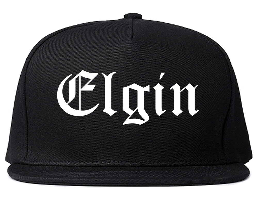 Elgin Illinois IL Old English Mens Snapback Hat Black