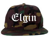 Elgin Illinois IL Old English Mens Snapback Hat Army Camo