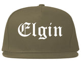 Elgin Illinois IL Old English Mens Snapback Hat Grey
