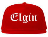 Elgin Illinois IL Old English Mens Snapback Hat Red