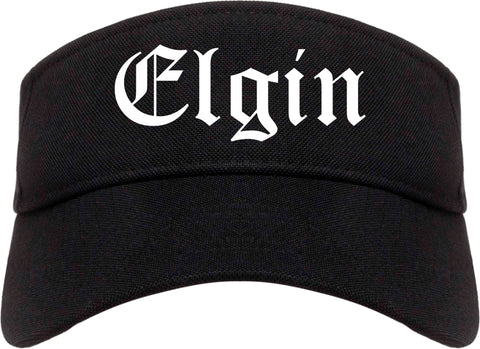 Elgin Illinois IL Old English Mens Visor Cap Hat Black
