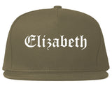 Elizabeth New Jersey NJ Old English Mens Snapback Hat Grey