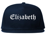 Elizabeth New Jersey NJ Old English Mens Snapback Hat Navy Blue