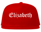Elizabeth New Jersey NJ Old English Mens Snapback Hat Red