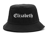 Elizabeth New Jersey NJ Old English Mens Bucket Hat Black