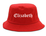 Elizabeth New Jersey NJ Old English Mens Bucket Hat Red