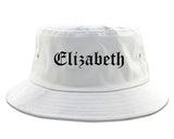Elizabeth New Jersey NJ Old English Mens Bucket Hat White