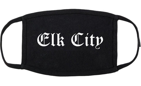 Elk City Oklahoma OK Old English Cotton Face Mask Black