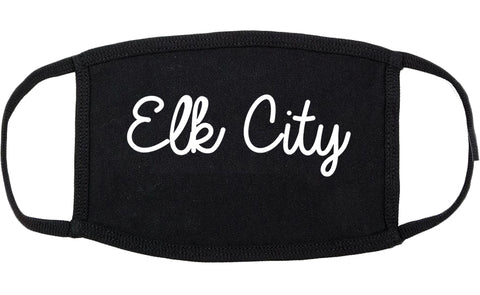 Elk City Oklahoma OK Script Cotton Face Mask Black