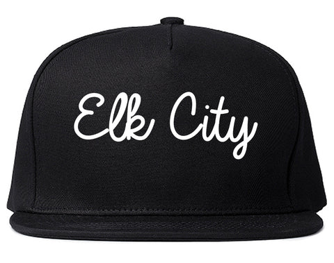 Elk City Oklahoma OK Script Mens Snapback Hat Black