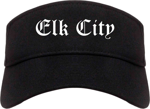 Elk City Oklahoma OK Old English Mens Visor Cap Hat Black