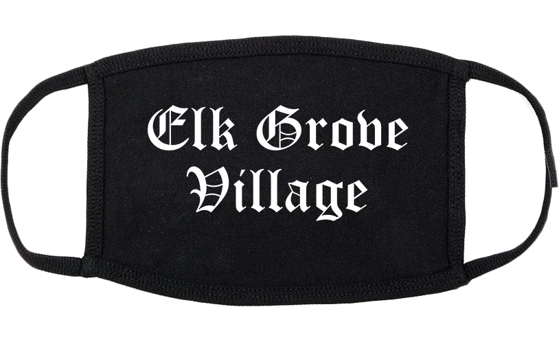 Elk Grove Village Illinois IL Old English Cotton Face Mask Black