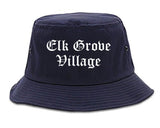 Elk Grove Village Illinois IL Old English Mens Bucket Hat Navy Blue