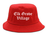 Elk Grove Village Illinois IL Old English Mens Bucket Hat Red