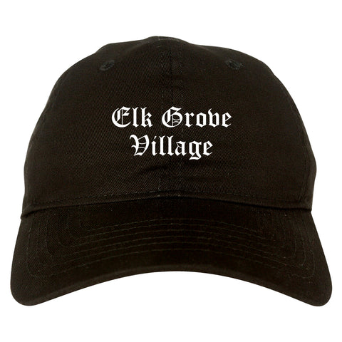 Elk Grove Village Illinois IL Old English Mens Dad Hat Baseball Cap Black