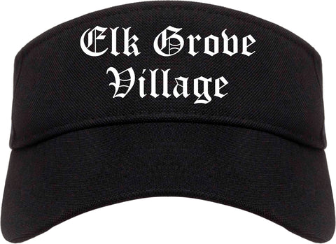 Elk Grove Village Illinois IL Old English Mens Visor Cap Hat Black