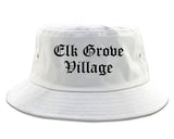 Elk Grove Village Illinois IL Old English Mens Bucket Hat White