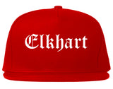 Elkhart Indiana IN Old English Mens Snapback Hat Red