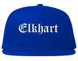 Elkhart Indiana IN Old English Mens Snapback Hat Royal Blue