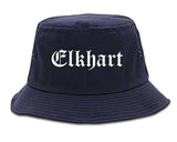 Elkhart Indiana IN Old English Mens Bucket Hat Navy Blue
