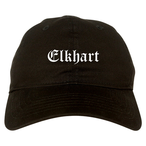 Elkhart Indiana IN Old English Mens Dad Hat Baseball Cap Black