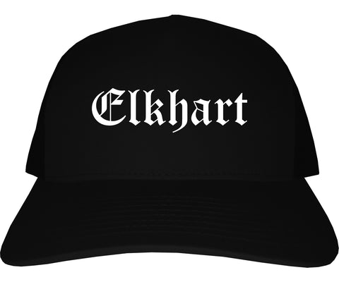 Elkhart Indiana IN Old English Mens Trucker Hat Cap Black