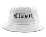 Elkhart Indiana IN Old English Mens Bucket Hat White