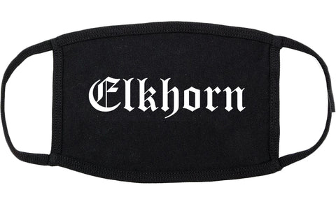 Elkhorn Wisconsin WI Old English Cotton Face Mask Black