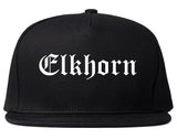 Elkhorn Wisconsin WI Old English Mens Snapback Hat Black