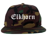 Elkhorn Wisconsin WI Old English Mens Snapback Hat Army Camo