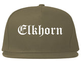 Elkhorn Wisconsin WI Old English Mens Snapback Hat Grey
