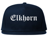 Elkhorn Wisconsin WI Old English Mens Snapback Hat Navy Blue