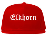 Elkhorn Wisconsin WI Old English Mens Snapback Hat Red
